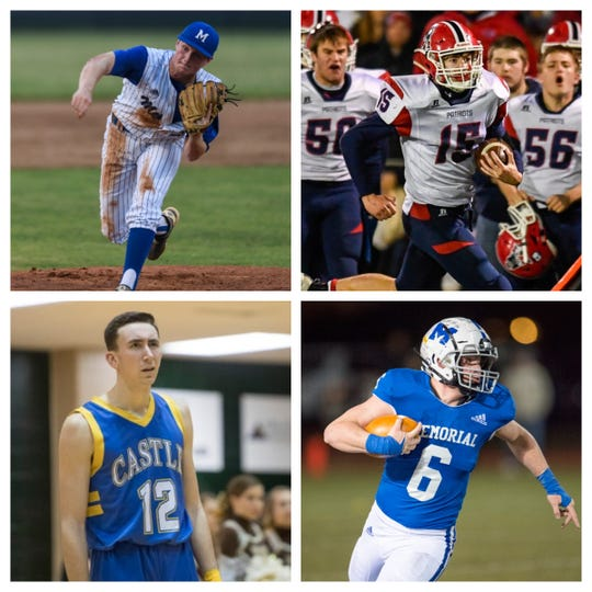 Michael Lindauer (top left), Cole Sigler (top right), Alex Hemenway (bottom left) and Brock Combs (bottom right) are some of the nominees for the Courier & Press Male Athlete of the Year.