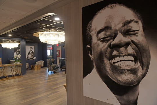 Riverboat Louis Armstrong features a third deck reception hall decorated with photos of Louis Armstrong in New Orleans, La. Thursday, Dec. 12, 2019. The Louis Armstrong was a former casino boat from Indiana that was rebuilt into a floating music, wedding, convention and party venue. The riverboat will be docked at the Hilton Riverside.
