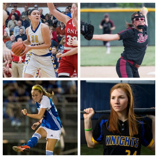 Jessica Nunge (top left), Lyndsi Adamson (top right), Ryleigh Anslinger (bottom left) and Hannah Hood (bottom right) are among the nominees for the Courier & Press Female Athlete of the Year