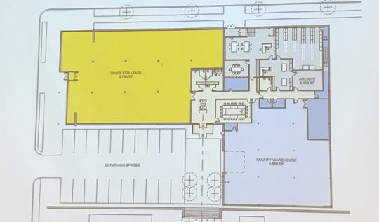 A floor plan option by Engberg Anderson Architects for a proposed Door County Archives center and mixed-use space in the former Younkers Home Store building on North Fourth Ave. in Sturgeon Bay.