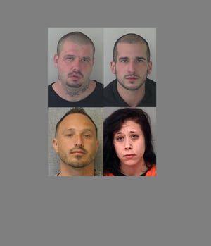 Four inmates who walked away from jail or prison in early November, clockwise from top left, Dennis L. Harris Jr., Chad N. Skarvan, Emily Faber and Bradley Webie.