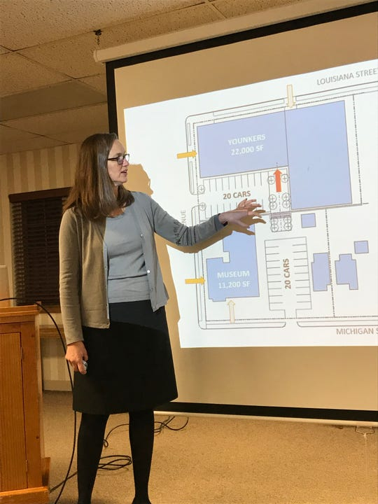 Alexandra Ramsey, architect with Engberg Anderson Architects, presents options to convert the former Younkers Home Store building on North Fourth Ave. in Sturgeon Bay into a Door County Archives center and mixed-use space during a Dec. 12 public input meeting at the Door County Library.