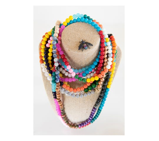 Beaded necklaces designed by Brice Hipp.