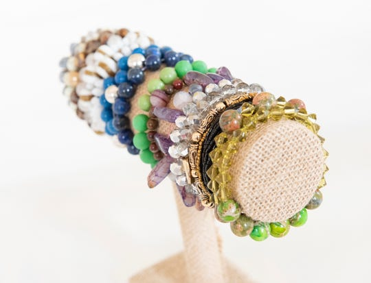 Beaded bracelets designed by Brice Hipp.