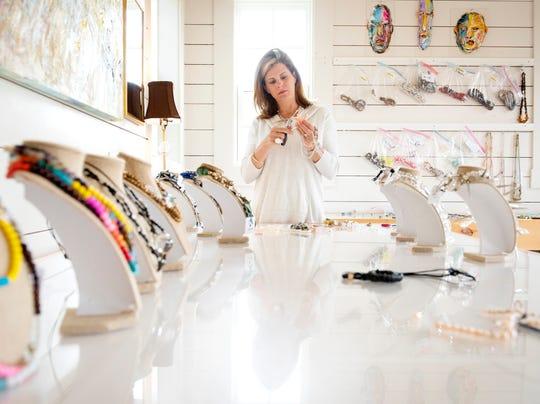 Brice Hipp works inside her home studio in Greenville.