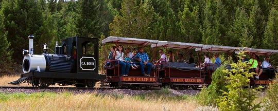 The 1.5-mile Alder Gulch Short Line Railroad was built by Charlie Bovey in 1964 to connect Virginia City to Nevada City. It runs daily between Memorial Day and Labor Day weekend.