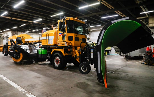 The team of 11 drivers in high powered MB5 snowplows ranging up to 60 feet long set out on to the runway for a training day on Tuesday, Nov. 12, 2019, at the Indianapolis International Airport.