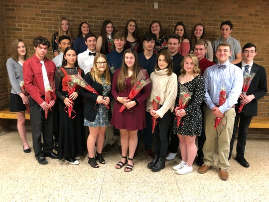 The newest members of the Spencer-Van Etten National Honor Society are, front row from left, Calum Avery, Asia Toyryla, Ivy Frandsen, Zoe Zavaski, Alexa Zinna, Amelia Sousa and Blaine Whitmarsh. Middle row from left: Sydney Doster, James Sutherlin, Ryan Hodges, Matthew Byrne, Christopher Miller, Noah Mack, Matthew Merrick and Alexander Decker. Back row from left: Daisy Vallely, Jaylene Noviello, Sarah Barton, Lydia Diboun, Aleigh Adams, Ashleigh Morais, Cassidy Evans and Zachery Huston.