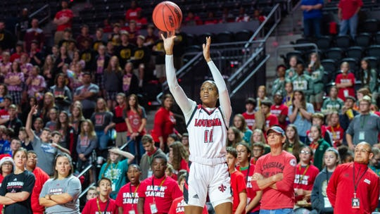 UL's Skylar Goodwin takes a shot against Mississippi State in a game last year. Goodwin led all scorers with 17 points against Texas state on Saturday, March 7, 2020.
