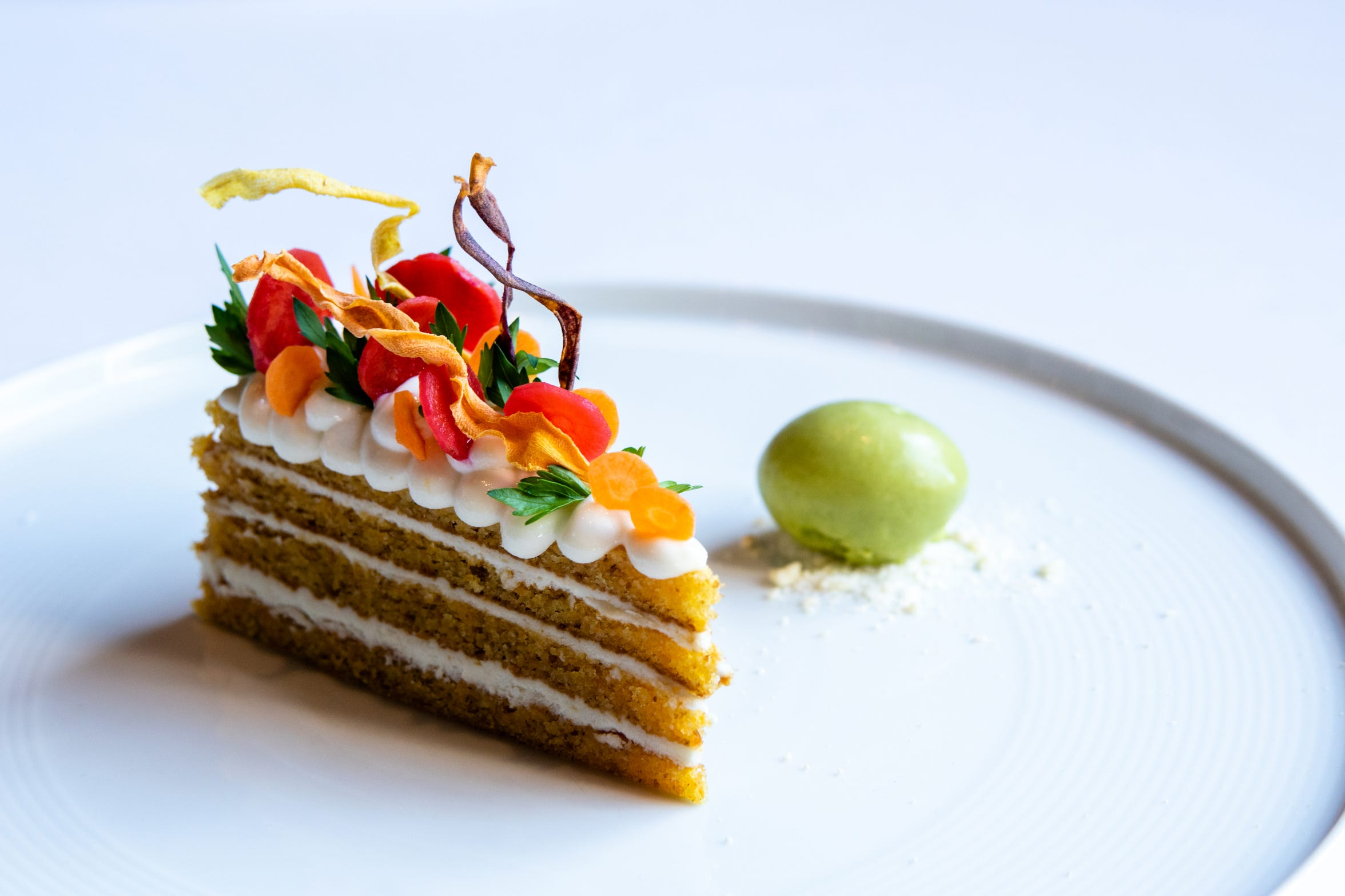 A slice of carrot cake served at Restaurant Eugene, April 18, 2018.