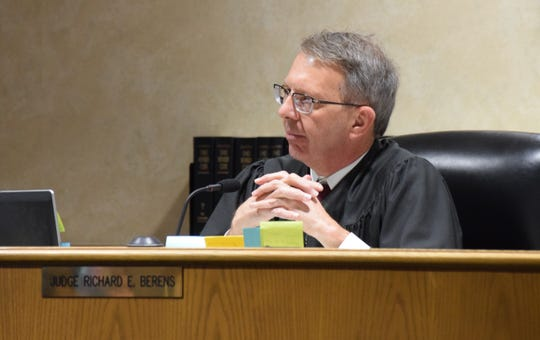 Fairfield County Common Pleas Judge Richard Berens listens to the defense during Kevin Blalock's plea and sentencing hearing Dec. 16. Blalock was sentenced to six years in prison after he pleaded guilty to aggravated vehicular homicide.
