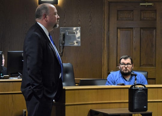 Andrew Sanderson, left, addresses the court during the hearing for his client, Kevin Blalock, right, Dec. 16. Blalock was sentenced to six years in prison after he plead guilty to aggravated vehicular homicide.