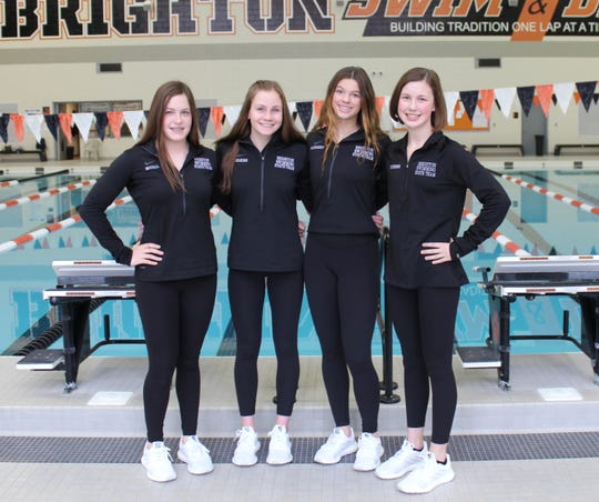 Brighton's 200 freestyle relay team consisted of (left to right) Kayla McCall, Drue Thielking, Gabby Mainhardt and Victoria Schreiber.