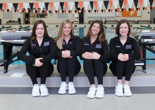 Brighton's 400 freestyle relay team consisted of (left to right) Kayla McCall, Lindsey Witte, Gabby Mainhardt and Victoria Schreiber.