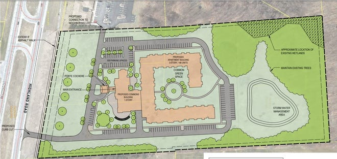 A conceptual site plan shows what the layout of the proposed Hartland Senior Living facility could look like.