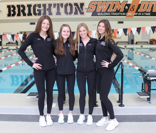 Brighton's 200-yard medley relay team consisted of (left to right) Ania Bodyl, Drue Thielking, Lindsey Witte and Gabby Mainhardt.