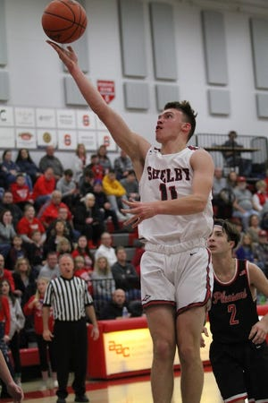 Shelby's Cody Lantz scored 17 points including the game-winning jumper in a dramatic 57-55 win over Norwalk.