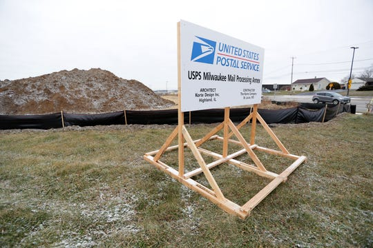 Grading and other site preparation are underway at a future U.S. Postal Service facility along East College Avenue, southeast of Milwaukee Mitchell International Airport in Oak Creek on Monday, Dec. 16, 2019. U.S. Postal Service facility coming to Oak Creek now includes an addition that would apparently replace the downtown Milwaukee postal center — opening up that massive building for redevelopment.
