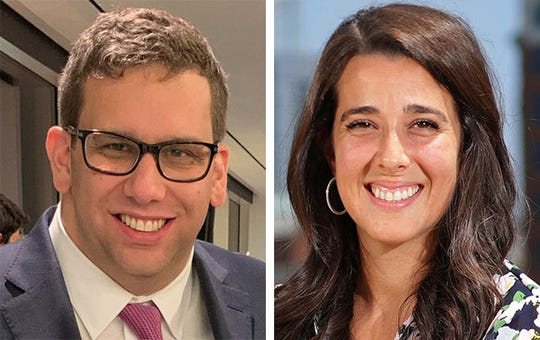 Adam Alonso, chief of staff to the 2020 DNC Host Committee, left, and Liz Gilbert, the committee president, right