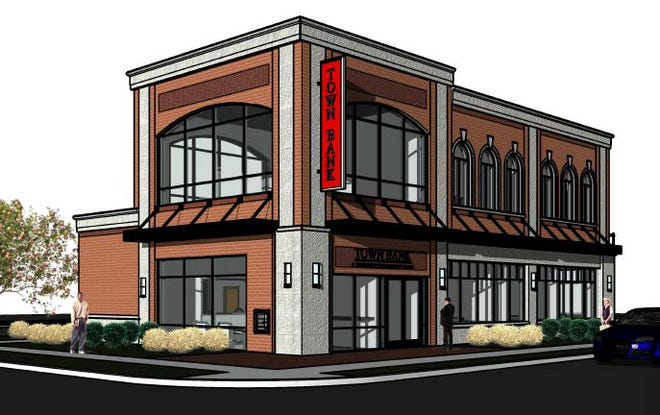 This rendering shows the two-story Town Bank branch that could take the place of two single-story commercial buildings at 105-115 W. Silver Spring Drive in Whitefish Bay.
