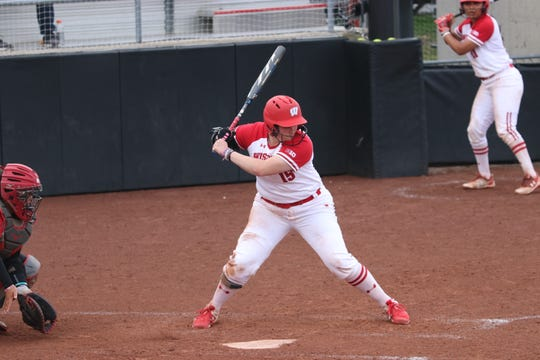 Kayla Konwent waits for a pitch for the Wisconsin softball team