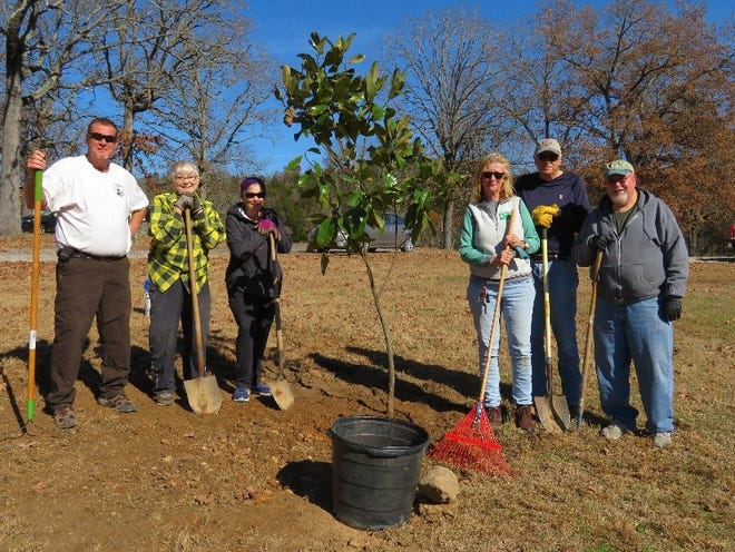 A magnolia tree was recently planted by Baxter County Master Gardeners (from left) Don Beard, Joanne Ragsdale, Judy Rhine, Jo Bracken, Wayne Buck, Darrell Stewart. Not pictured is Libby Stewart, who took this photo.