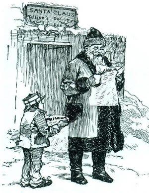 Santa reading a newspaper
