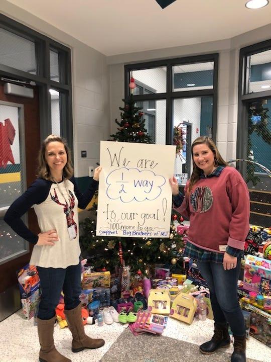 Amy Wilken, a Gladeville Middle School teacher and sponsor of Project Selflessness, holds a toy drive sign next to Katy Mosley, a school counselor and club sponsor of Student Council. The students at Gladeville have been collecting toys to replace those stolen from Big Brothers of Mt. Juliet's holiday gift drive.