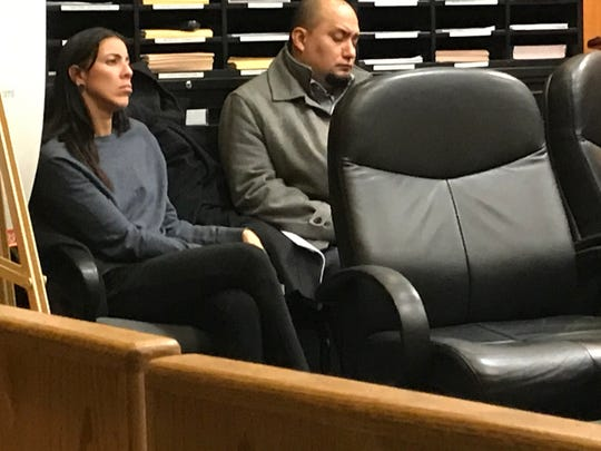 Defendants Trystal Lozado, left, and Michael Ramirez are seen Monday, Dec. 16, 2019, during their trial involving an alleged sexual assault at Mr. B's Gentlemen's Club in Passaic.