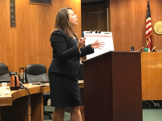 Chief Assistant Prosecutor Gina Pfund argues the case on Monday, Dec. 16, 2019, in the trial of Michael Ramirez and Trystal Lozado involving an alleged sexual assault at Mr. B's Gentlemen's Club in Passaic.