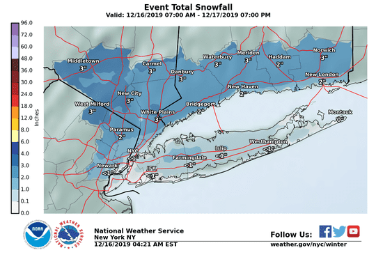 Snow projections for North Jersey and parts of New York issued Dec. 16, 2019.