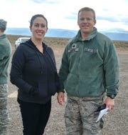 Senator Tom Udall's Field Representative, Elizabeth Driggers and Lt Col Matthew Wroten, 846th Test Squadron Commander, pose for a photo Nov. 22, 2019, on Holloman Air Force Base, N.M. Driggers's trip to the Test Group focused on familiarization and orientation of activities and capabilities.