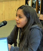 Rose Enjady, daughter of Pascal and Erica Enjady, reported to Ruidoso village councilors about the activities of the Youth Advisory Council.