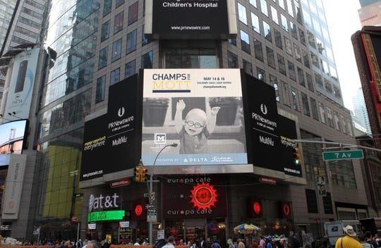 Oliver VanBelle's photo graced the big screen at New York City's Time Square.