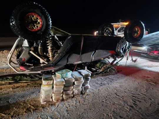 One of two vehicles that were intercepted by a marked Border Patrol vehicle carrying 26 Tupperware containers that contained a total of 184.5 pounds of methamphetamine in the predawn hours on Friday, Dec. 13, 2019, near Calexico, Calif.