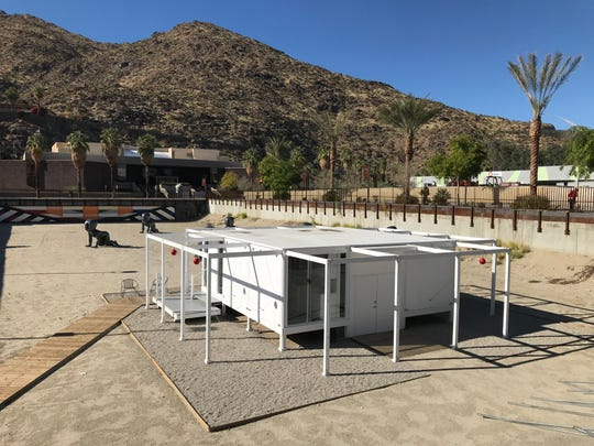 The Walker Guest House replica in the sand pit in front of the Palm Springs Art Museum will be auctioned off in February 2020. It must be out of the location by the end of March 2020.