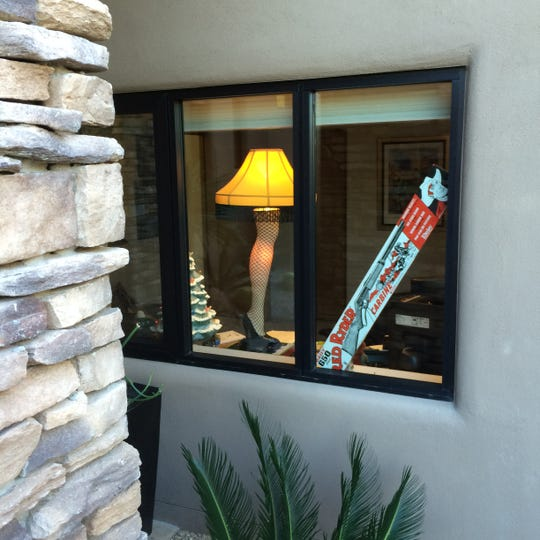 """John Yale sent me a picture of his tribute to the classic movie """"A Christmas Story"""" that he puts up every year in the window of his home office."""