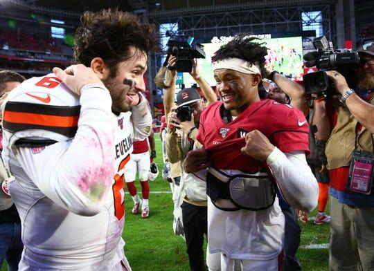 Cleveland Browns quarterback Baker Mayfield (6) and Arizona Cardinals quarterback Kyler Murray (1) exchange jerseys after the game on Dec. 15, 2019 in Glendale, Ariz.