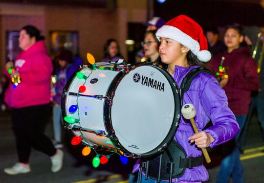 A drummer for the Yerington Intermediate School Marching Band performs.