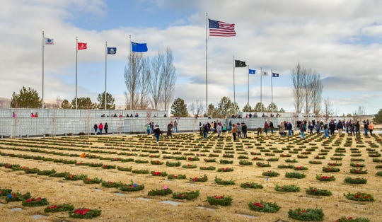 Over 8,000 wreaths were placed at the Northern Nevada Veterans Memorial Cemetery.