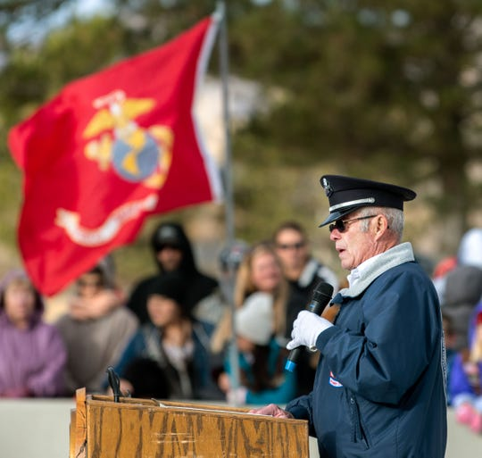 Tom Draughon speaks at the Northern Nevada Wreaths Across America event, one of 1,600 ceremonies performed simultaneously across the Nation.