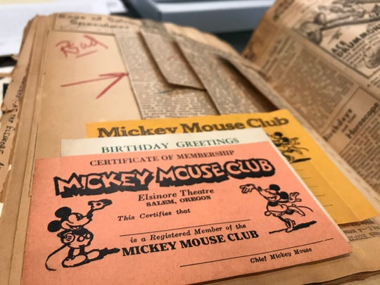 """A blank Mickey Mouse Club membership application is preserved in a scrapbook belonging to Wilfred """"Bill"""" Hagedorn and archived at Willamette Heritage Center."""