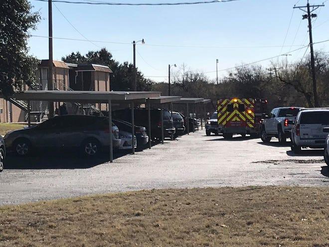 An ambulance responds to Bella Vista Apartments on Ben Ficklin Road on Monday, Dec. 16, 2019.