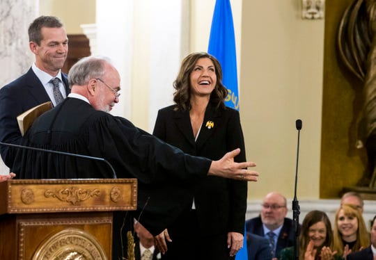 Gov.-elect Kristi Noem is sworn in as South DakotaÕs 33rd governor, Saturday, Jan. 5, 2019 in Pierre. Noem is the first woman to hold the position of governor in South Dakota.