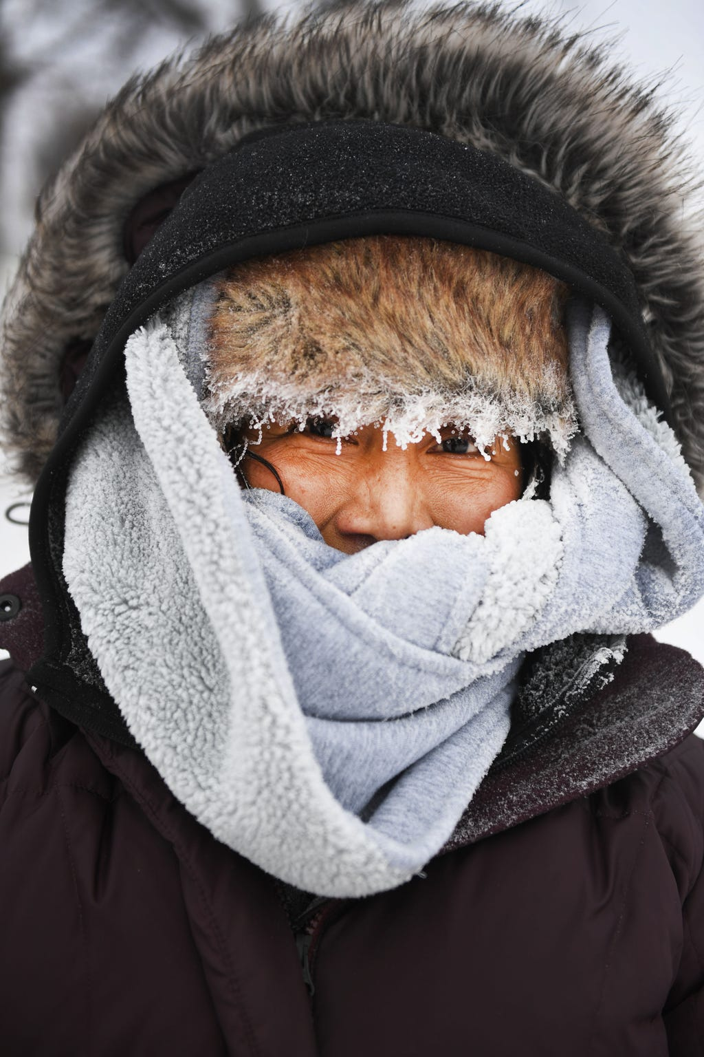 Sonia Zetino bundles up to shovel her driveway, Thursday, Feb. 7, 2019 in Sioux Falls. Sioux Falls went more than a month without the temperature rising above freezing in February and March, the longest stretch in at least 10 years.
