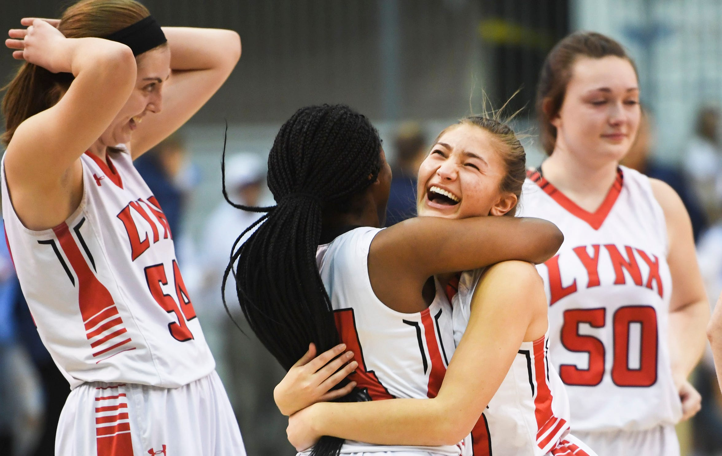 Brandon Valley celebrates after their win against Lincoln in the Class AA finals Saturday, March 16, 2019 in Rapid City.