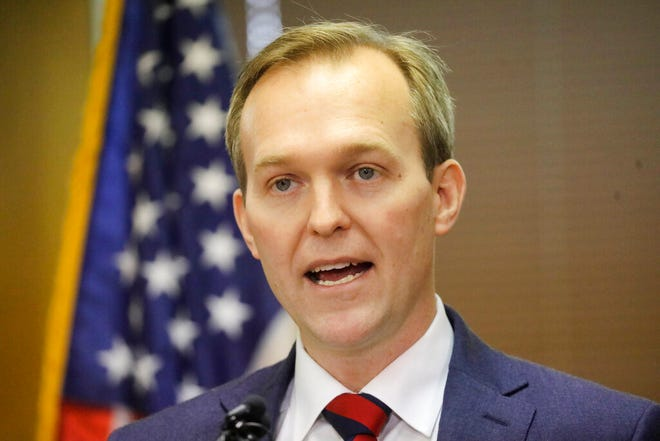 Utah Rep. Ben McAdams speaks during a news conference announcing he will vote to impeach President Donald Trump Monday, Dec. 16, 2019, in Murray, Utah. (AP Photo/Rick Bowmer)