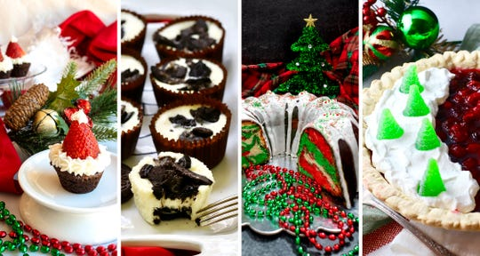 Make ahead holiday desserts include Santa hats, Oreo Cheesecake Cupcakes, Christmas Surprise Bundt Cake and Christmas Cranberry Pie.