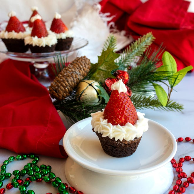 Santa Hats made with brownie mini-muffins and strawberries will delight young and old.