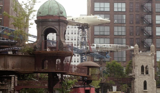 The City Museum in St. Louis, shown July 10, 2002, is a constantly evolving work of art, three stories of unbridled creativity, part playground and part hands-on art show, according to the Associated Press. As of 2002, the newest attraction was called MonstroCity, a bizarre, industrial-size jungle gym made of giant slinky toys and old airplanes. The owner said the creations are just pure insanity.